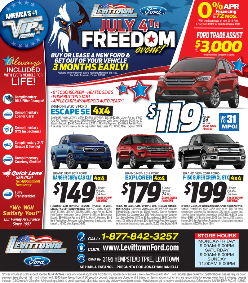 Levittown Ford Newspaper Specials